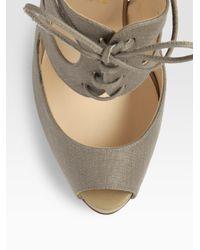 Christian Louboutin   Brown Circonvolu Cotton Canvas Peep-toe Sandals   Lyst