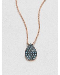 Diane Kordas | Pink Blue Diamond & 18k Rose Gold Teardrop Necklace | Lyst