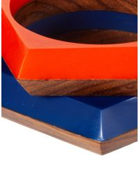 French Connection - Orange Two Pack Of Wood Geo Bangles - Lyst