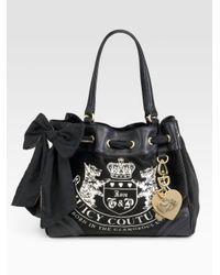 Juicy Couture. Women's Black Velour Heritage Crest Dreamer Bag