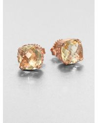 KALAN by Suzanne Kalan | Metallic Lemon Quartz 14k Rose Gold Stud Earrings | Lyst