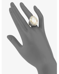 Konstantino - Metallic Sterling Silver & 18k Gold Framed Mother-of-pearl Ring - Lyst