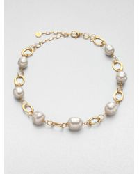 Majorica | Metallic 14mm and 16mm Baroque Pearl Necklace | Lyst