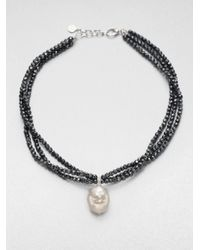 Majorica | Black 18mm Baroque Pearl and Hematite Bead Necklace | Lyst