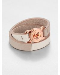 Marc By Marc Jacobs - Pink Double Wrap Leather Turnlock Bracelet - Lyst