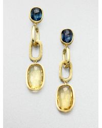 Marco Bicego | Metallic Murano Blue Topaz, Citrine & 18k Yellow Gold Link Drop Earrings | Lyst