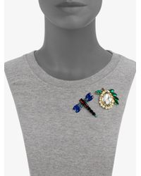 Marni - Blue Faceted Dragonfly Brooch Set - Lyst