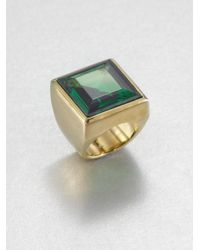 Michael Kors | Green Emerald Cut Square Ring | Lyst