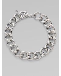 Michael Kors - Gray Silvertone Short Chunky Necklace - Lyst