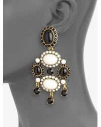 Oscar de la Renta | Black Two-Tone Chandelier Clip-On Earrings | Lyst