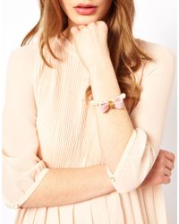 Ted Baker - Pink Bow Pearl Bracelet - Lyst