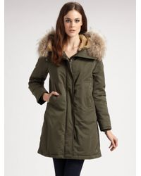 Theory - Green Fur-trimmed Hooded Parka - Lyst