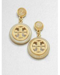 Tory Burch | Metallic Hornprint Logo Drop Earrings | Lyst