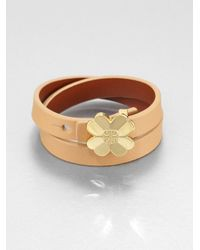 Tory Burch - Natural Shawn Double Wrap Reversible Leather Bracelet - Lyst