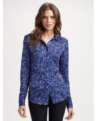 Tory Burch | Blue Printed Silk Blouse | Lyst