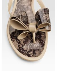 Valentino - Multicolor Lace-print Jelly Thong Sandals - Lyst