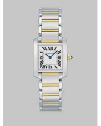 Cartier | Metallic Tank Francaise Stainless Steel & 18k Yellow Gold Watch On Bracelet, Small | Lyst