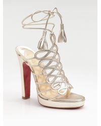 Christian Louboutin | Salsbourg Metallic Leather Strappy Sandals | Lyst