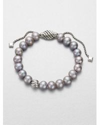 David Yurman - Metallic 8mm Grey Pearl Sterling Silver Bracelet - Lyst