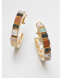 Delfina Delettrez - Multicolor Chunky Multistone Sterling Silver Earrings - Lyst