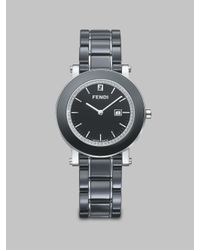 Fendi - Black Diamond, Ceramic & Stainless Steel Bracelet Watch - Lyst
