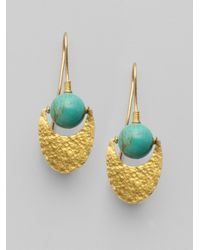 Gurhan - Metallic Turqoise 24k Gold Crescent Earrings - Lyst