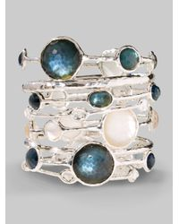 Ippolita | Blue Wonderland Indigo Mother-of-pearl, Clear Quartz & Sterling Silver Station Five-stone Doublet Ban | Lyst