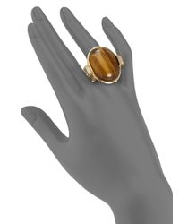 Judith Leiber - Brown Tigers Eye Cocktail Ring - Lyst