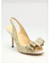 kate spade new york - Metallic Charm Glitter Slingbacks - Lyst