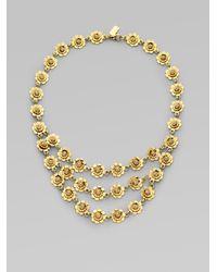 kate spade new york | Metallic Threestrand Floral Bib Necklace | Lyst
