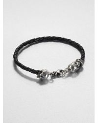King Baby Studio | Black Braided Leather Hamlet Skull Bracelet for Men | Lyst