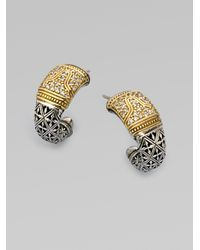 Konstantino - Metallic Sterling Silver 18k Gold Diamond Jhoop Earrings - Lyst