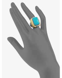 Konstantino - Blue Turquoise 18k Yellow Gold Sterling Silver Rectangular Ring - Lyst