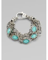 Lagos | Gray Multichain Crystal Accented Turquoise Station Bracelet | Lyst