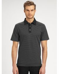 Michael Kors - Black Striped Pique Polo for Men - Lyst