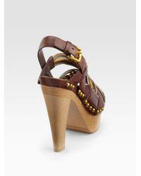Miu Miu - Brown Braidedleather Platform Sandals - Lyst