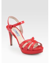 da09a00ec6a3 Lyst - Prada Saffiano Leather Strappy Platform Sandals in Red