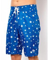 Stussy Blue Stars Board Shorts for men