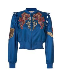 Emilio Pucci - Embroidered Silk Bomber Jacket in Ocean Blue - Lyst