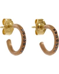 Malcolm Betts | Metallic Black Diamond Half-hoop Earrings | Lyst