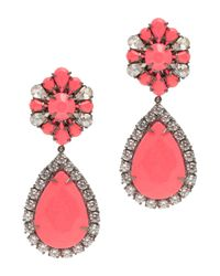 Shourouk | Pink Roma Gunmetal-Tone Crystal Earrings | Lyst