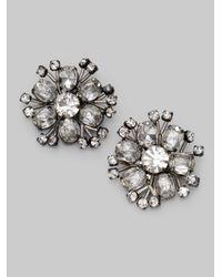 Vera Wang - Gray Jeweled Flower Earrings - Lyst