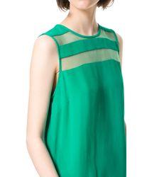 Zara   Green Top with Sheer Stripe   Lyst