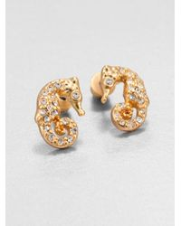 ABS By Allen Schwartz | Metallic Pave A Cute Seahorse Stud Earrings | Lyst