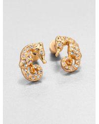 ABS By Allen Schwartz - Metallic Pave A Cute Seahorse Stud Earrings - Lyst