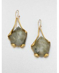Alexis Bittar | Metallic White Quartz and Labradorite Drop Earrings | Lyst