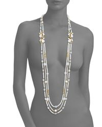Ben-Amun - White Triple Strand Beaded Necklace - Lyst