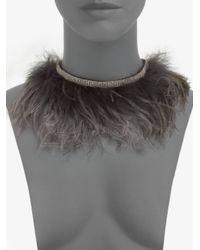 Brunello Cucinelli | Brown Ostrich Feather Necklace | Lyst