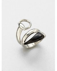 Gucci   Metallic Sterling Silver Black Horn Wrapped Ring   Lyst