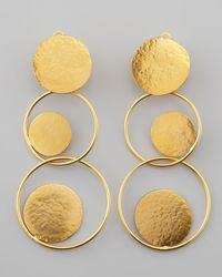 Herve Van Der Straeten   Metallic Hammered Gold Circle Drop Earrings   Lyst